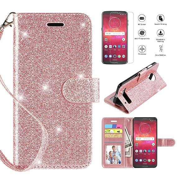 the best attitude b991f 48350 Motorola Moto Z3 Play Case, Moto Z3 Case with Screen Protector,Casekey  Kickstand Card Slots Wrist Strap 2 in 1 Anti-Slip Glitter Magnetic Flip PU  ...