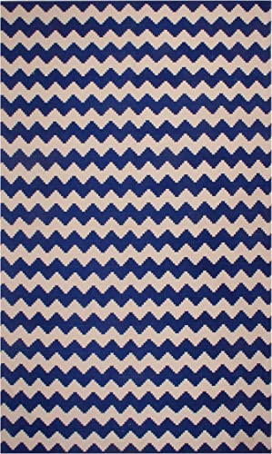 Superior 100 Cotton Area Rug, Contemporary Chevron Zig-Zag Pattern, Geometric Printed Flat Weave Cotton Rug – Blue, 5 x 8 Rug