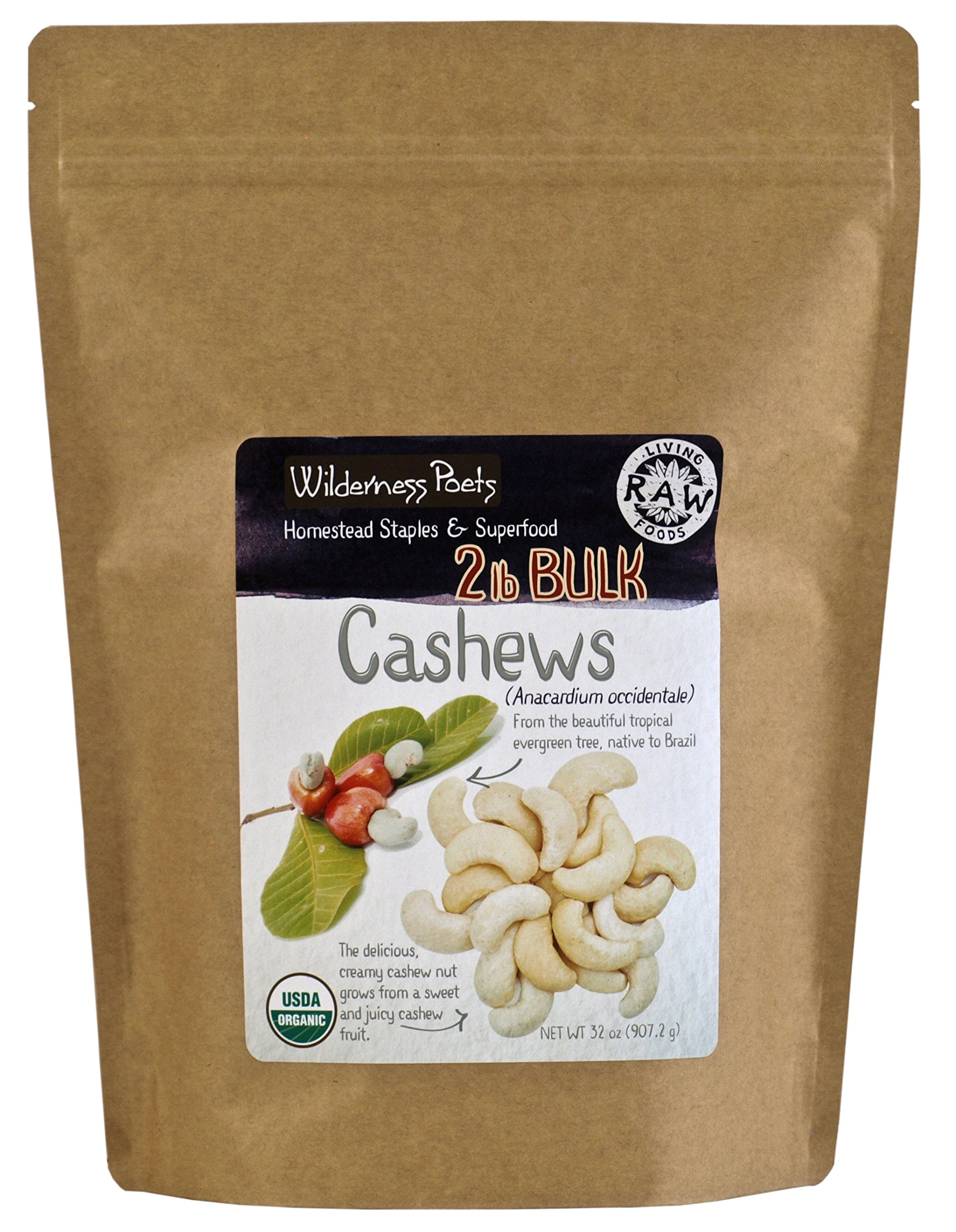 Wilderness Poets Cashews - Organic Raw Cashew Nuts, 2 Pound (32 Ounce)