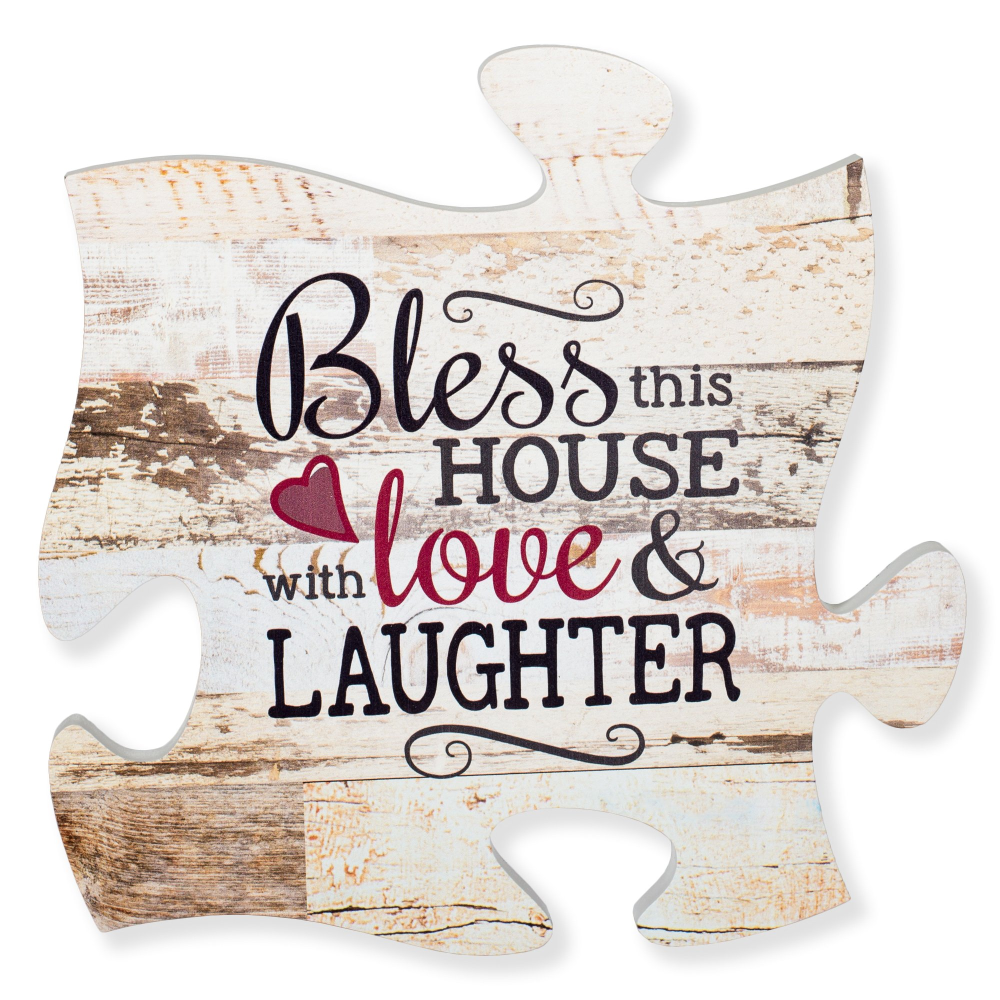 P Graham Dunn Bless This House with Love & Laughter Distressed 12 x 12 Wood Wall Art Puzzle Piece Plaque
