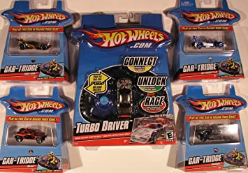 Hot Wheels Turbo Driver Game Controller + Car-Tridge Bundle with Drift King, Invader