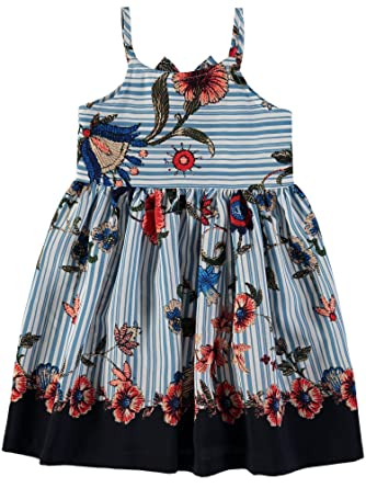 Bonnie Jean Little Girls  Floral Striped Dress (Blue Stripe Floral 24cedfa30