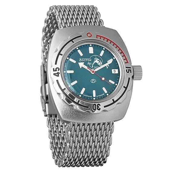 VOSTOK 090059 - Reloj analógico automático militar para hombre, acero inoxidable, diseño de Anfibia, color azul: Amazon.es: Relojes