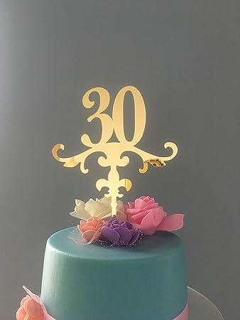 Shinybeauty Glitter Thirty 30th Geburtstag Kuchen Topper Gold Cake