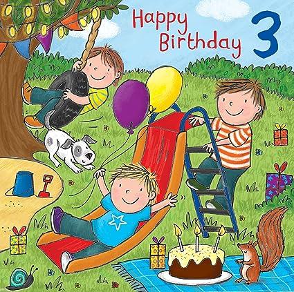 Twizler 3rd Tarjeta de cumpleaños para niño con tarta, perro ...