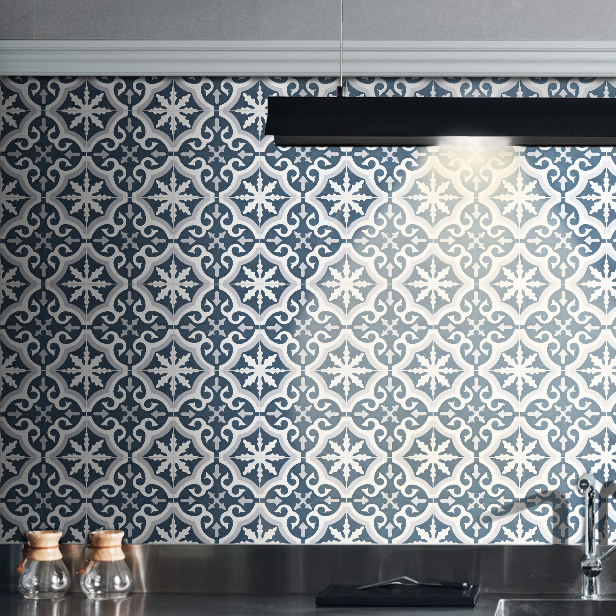 Moroccan Mosaic & Tile House CTP02-12 Argana Handmade Cement Tile, 8'' x 8'', Grey/Bleu/White
