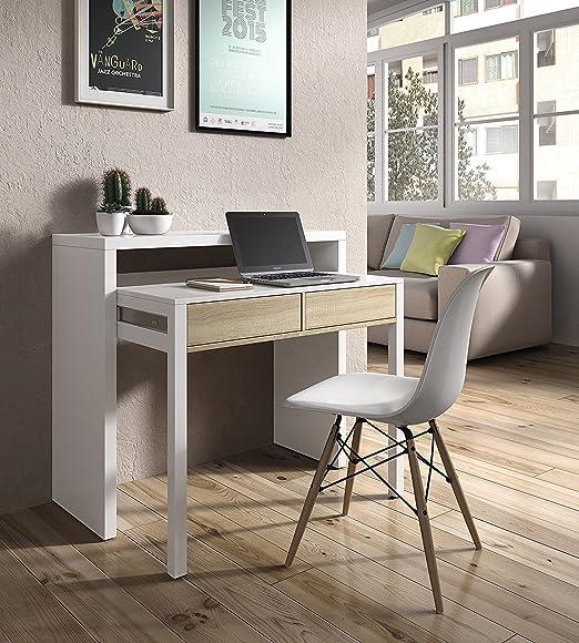 Mesa Escritorio Extensible con Silla de Diseño Blanca: Amazon.es ...