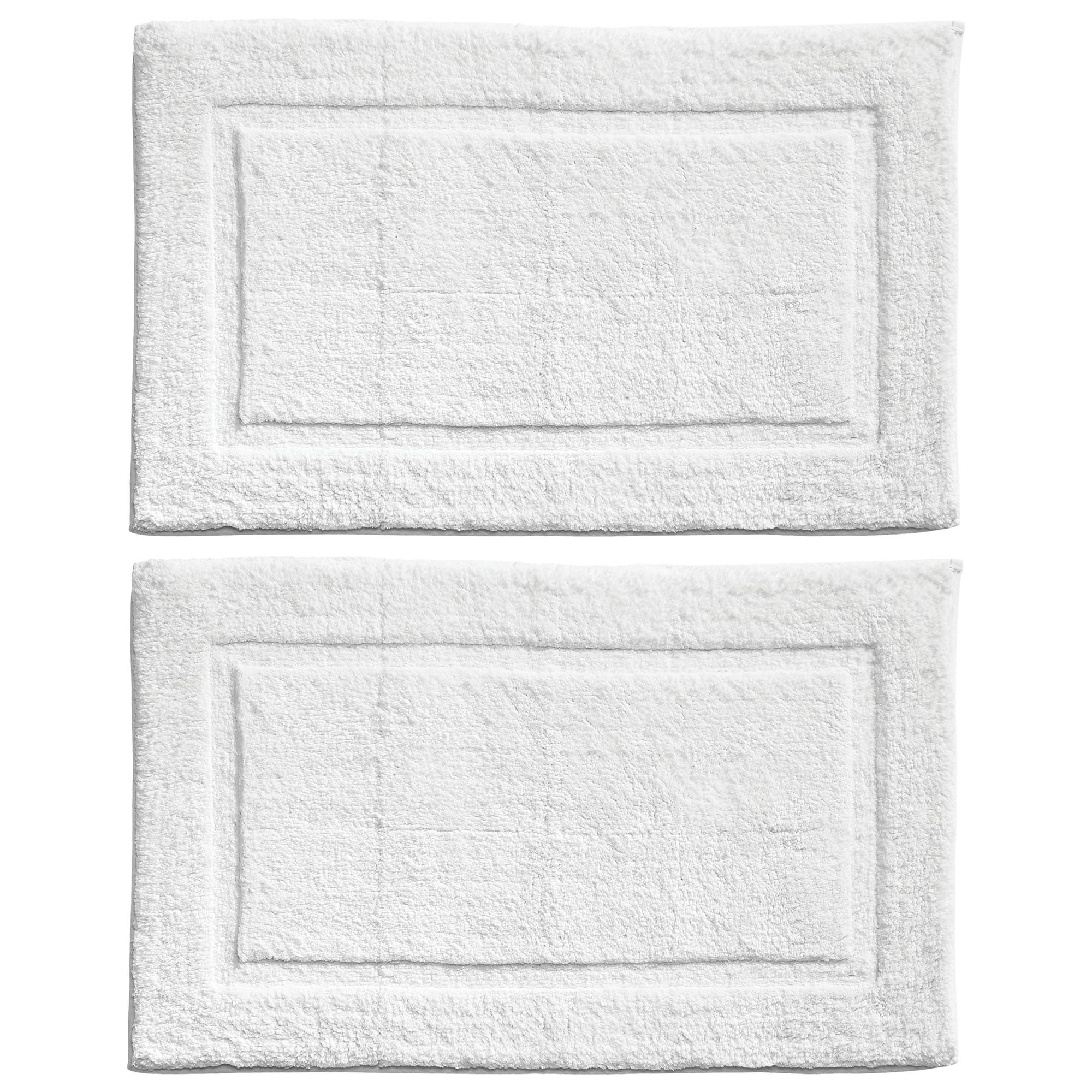 mDesign Soft 100% Cotton Luxury Hotel-Style Rectangular Spa Mat Rug, Plush Water Absorbent, Decorative Border - for Bathroom Vanity, Bathtub/Shower, Machine Washable - Pack of 2, White