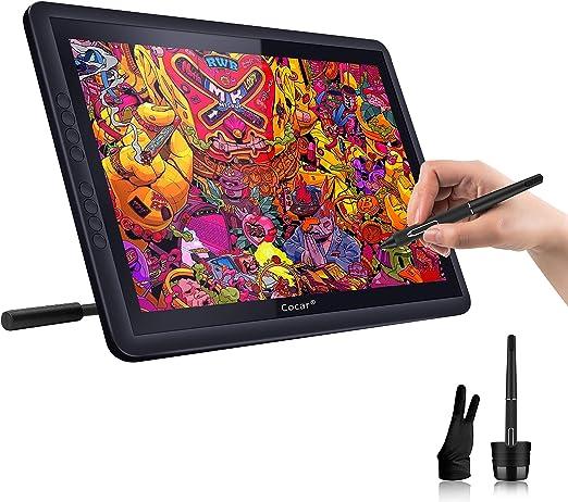 画面付きドローイングタブレット 15.6インチ LCD IPS グラフィックタブレット HD 1920x1080 画面付きデジタルアートタブレット HDモニターディスプレイ 8つのエクスプレスキー/調節可能なスタンド/エクストラスタイラス 8つのペン圧力レベル