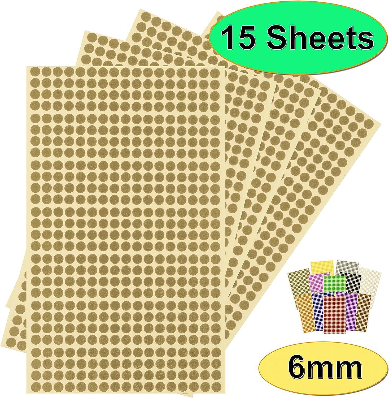 15 fogli di adesivi di alta qualit/à Blu per calendari colorati rotondi facili da staccare autoadesivi a scelta di 13 colori Confezione da 7140 x 6 mm