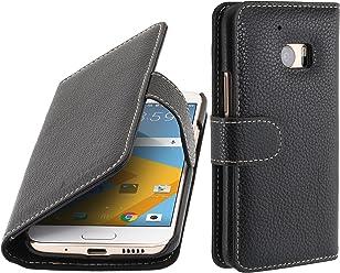 StilGut Talis, Housse Porte-Cartes en Cuir pour HTC 10, en Noir