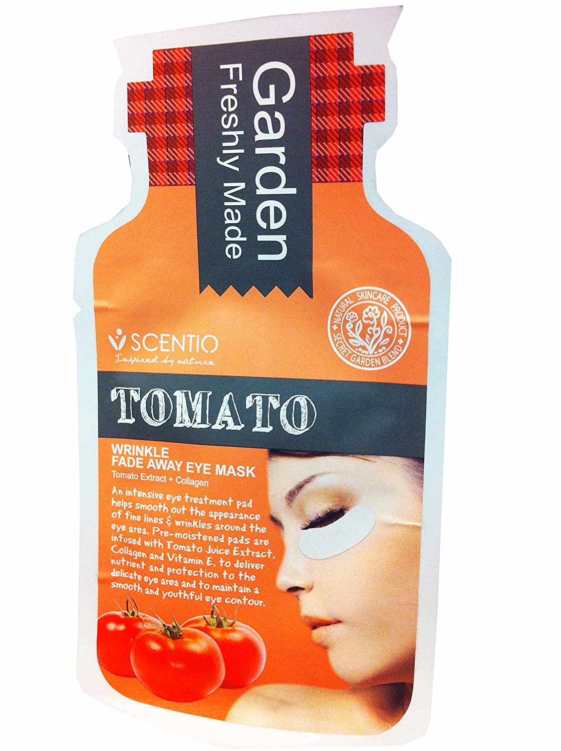 4 Mask sheets of Scentio Tomato Wrinkle Fade Away Eye Mask, Tomato Extract + Collagen. Inspired By Nature. By Beauty Buffet. (4 Pcs/ sheet)