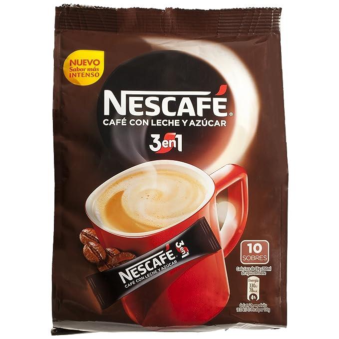 Nescafé 3 en 1 - Café Soluble con Leche y Azúcar - 9 Paquetes de 180