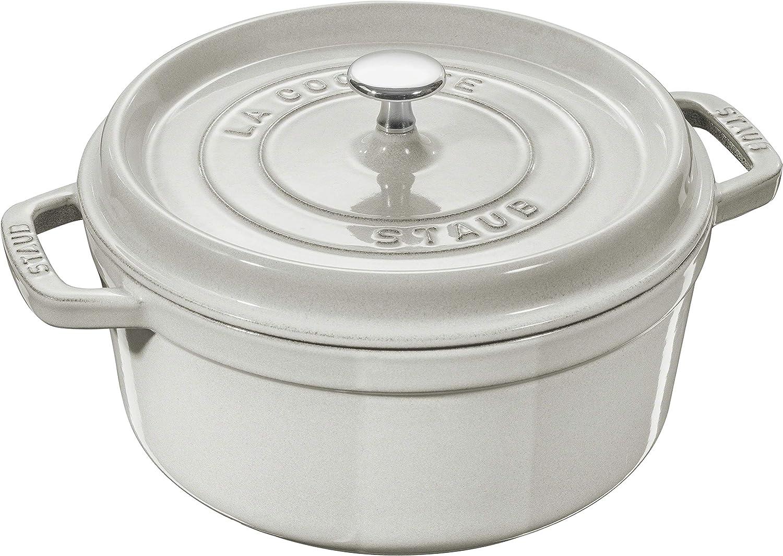Staub Cast Iron 2.75-qt Round Cocotte - White Truffle