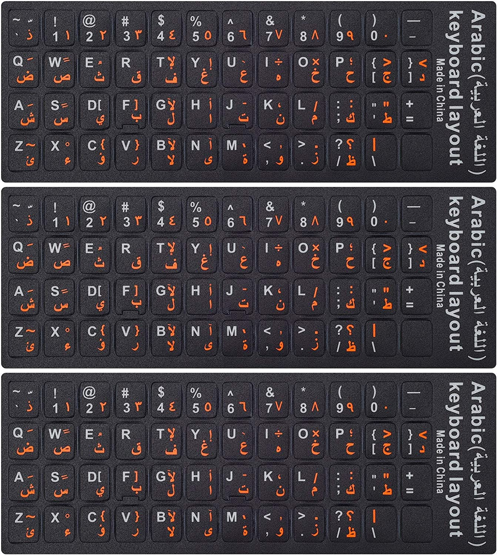 3PCS Arabic Keyboard Stickers for Laptop, MacBook Air/Pro, Desktop PC Computer, Replacement Arabic Keyboard Stickers, Orange Arabic Lettering with Non Transparent Black Background-Arabic