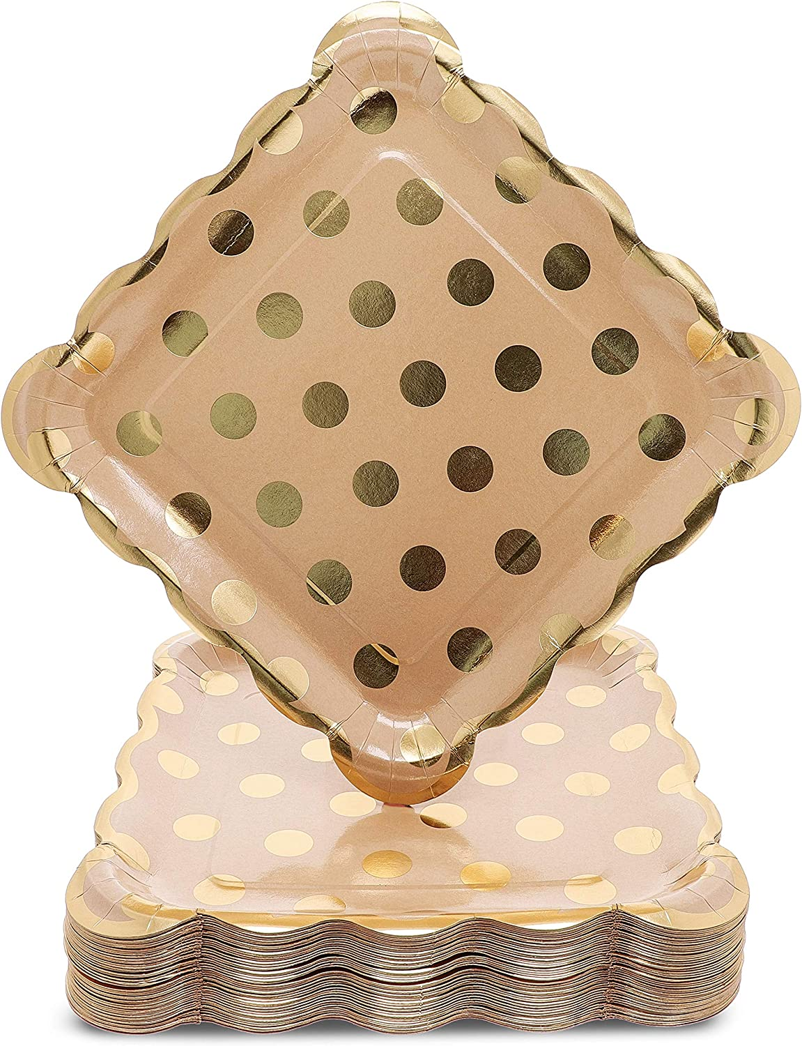 Juvale 48-Pack Kraft Gold Foil Dots 9 Inch Paper Party Plates for Lunch or Appetizer Dessert