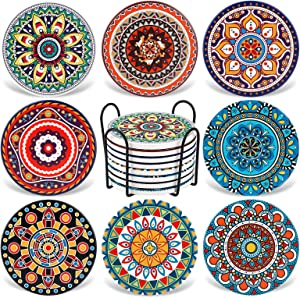 AODINI Coasters for Drinks, Set of 8 Absorbent Stone Coasters for Wooden Table, Mandala Ceramic Coasters with Cork Base, Gift for Housewarming Birthday and Family - Great Home and Dining Room Decor