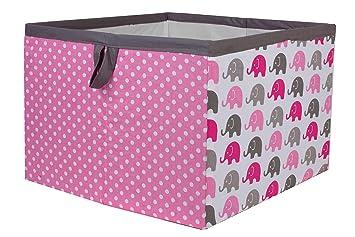 Bacati Elephants Storage Box, Pink/Grey, Large