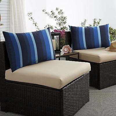 Mozaic AMPS116895 Indoor Outdoor Sunbrella Lumbar Pillows, Set of 2 14 x 24 Blue Stripes : Garden & Outdoor