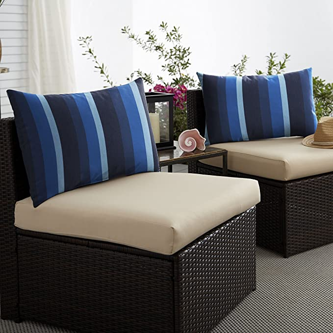 Mozaic Amps116895 Indoor Outdoor Sunbrella Lumbar Pillows Set Of 2 14 X 24 Blue Stripes Home Kitchen