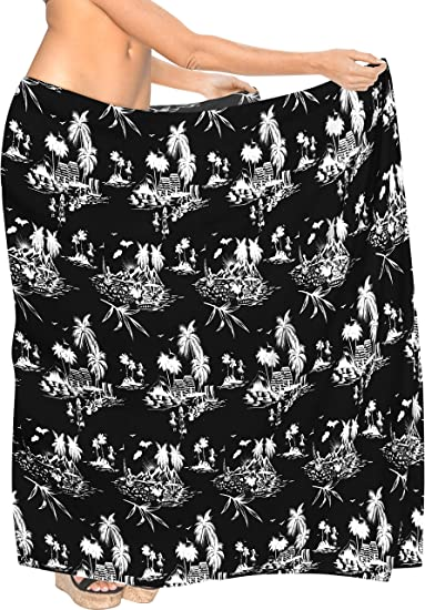 56fa2abc1f912 LA LEELA Soft Light Long Swim Dress Beach Sarong Printed 78 quot X39 quot   Black 2894