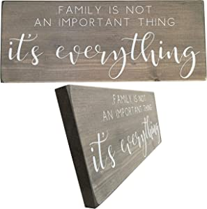 Let the Fun Begin Family Sign for Rustic Home Decor, Gifts for His Her Friends Wedding, Signs with Sayings (Family Everything No Year Grey with White)