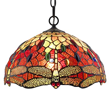Amora Lighting AM1034HL14 Tiffany Style Stained Glass Hanging Lamp Ceiling Fixture