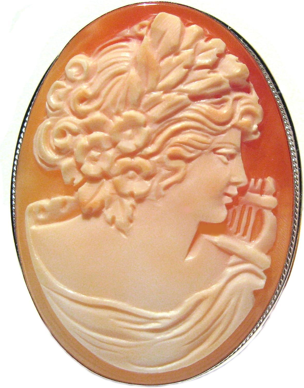 Master Hand carved Sardonyx shell cross pendant set in Italian silver