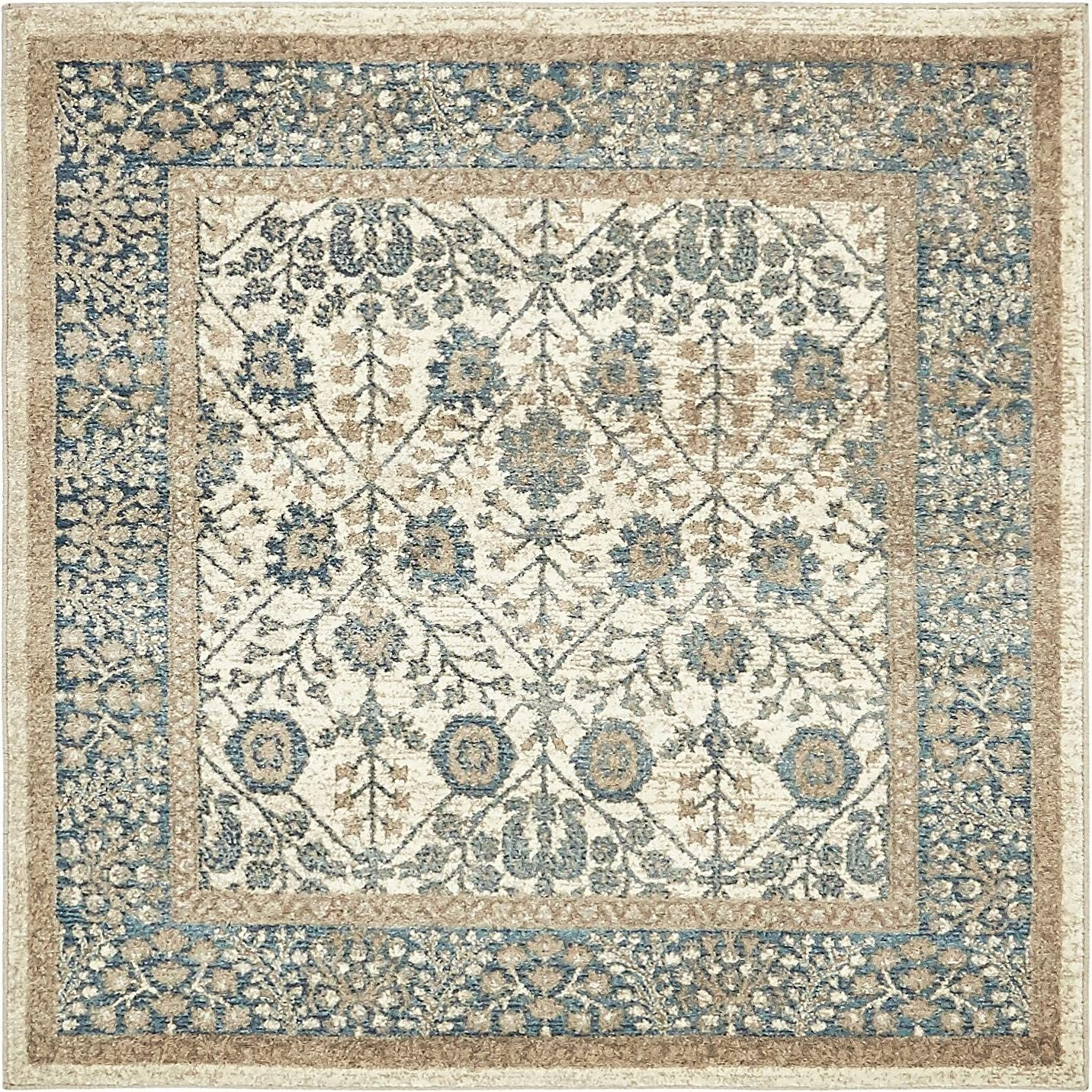 Unique Loom Salzburg Collection Traditional Oriental Cream Square Rug 4 0 x 4 0
