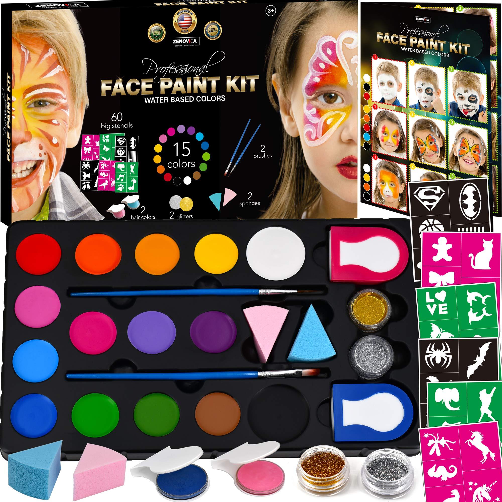 Face Paint Kit for Kids - 60 Jumbo Stencils, 15 Large Water Based Paints, 2 Glitters - Halloween Makeup Kit, Professional Face Paint Palette, Face Paints Safe for Sensitive Skin, Face Painting Book