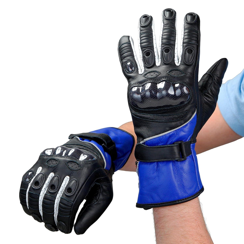 Lemoko Leder Motorradhandschuhe Farbe schwarz//blau Gr L