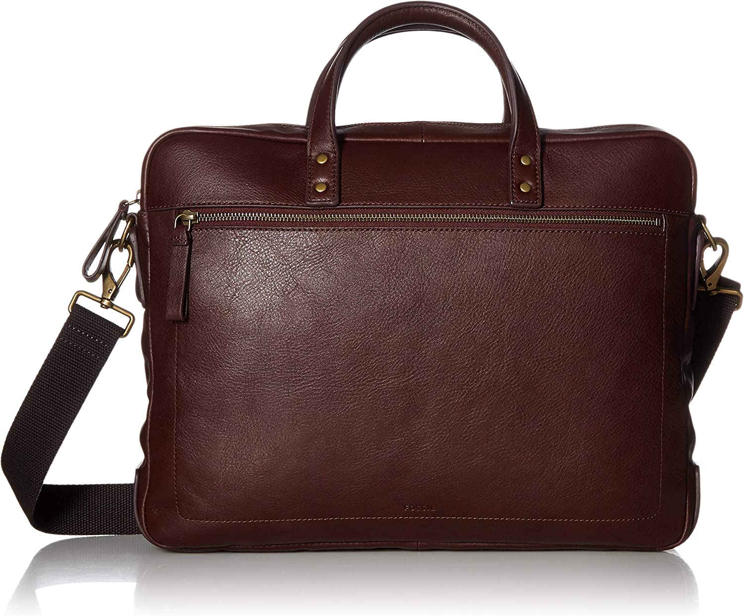One Size Fossil Mens Haskell Double Zip Workbag Black Cherry Briefcase