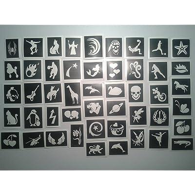 25 pochoirs de tatouage pour les tatouages paillettes / body art filles garçon aérographe henné