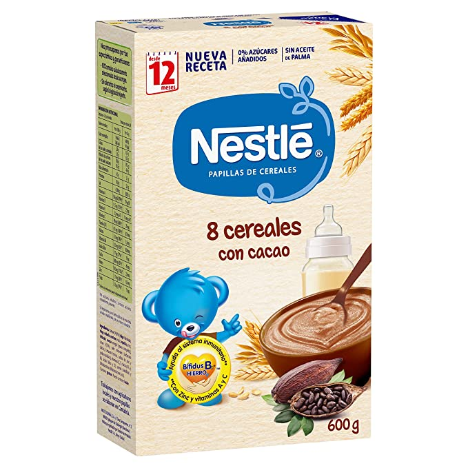 Nestlé - Junior Papillas 8 Cereales Con Cacao A Partir De 12 Meses 600 g