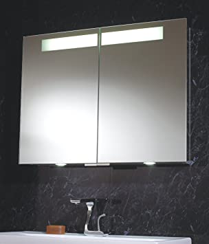 aluminium mirror double bathroom cabinet with led down lights shaver socket