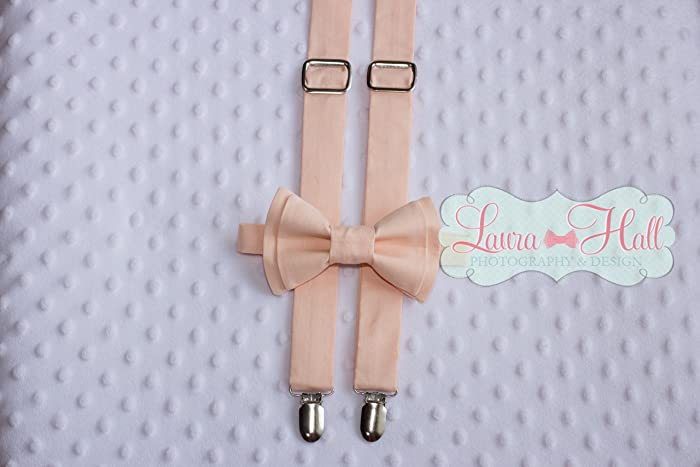 d1e9185e8a82 Bow Tie and SUSPENDERS set Peach - PEACH bow tie and suspenders, Peach  solid, peach suspenders, peach bow tie, pale peach bow tie suspenders, ...