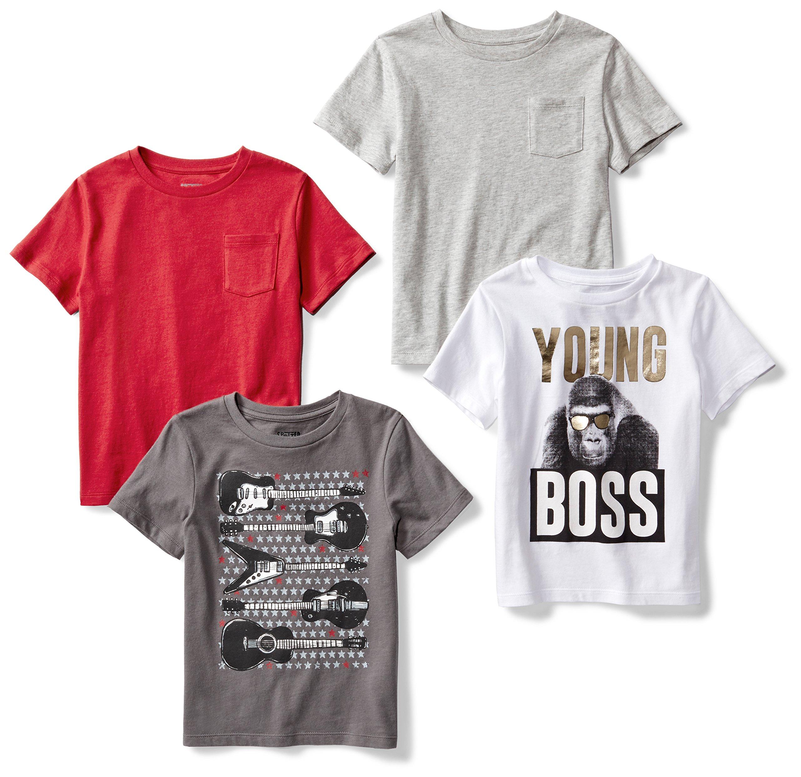 Amazon Brand - Spotted Zebra Boys' Big Kid 4-Pack Short-Sleeve T-Shirts, Young Boss, Medium (8)