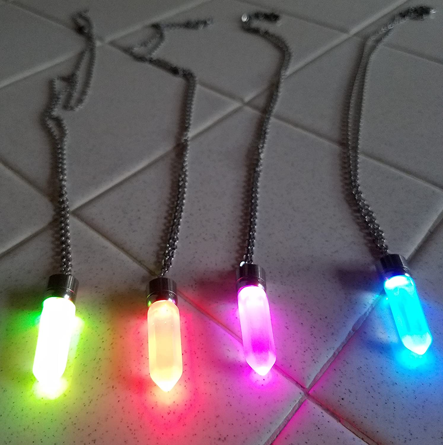 Glow crystal jewelry Necklace multicolor LED Light up Crystal Pendant Necklace