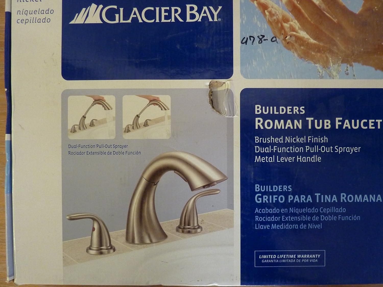 glacier bay roman tub faucet. Glacier Bay Builders 2 Handle Deck Mount Roman Tub Faucet  Brushed Nickel Bathtub Faucets Amazon com
