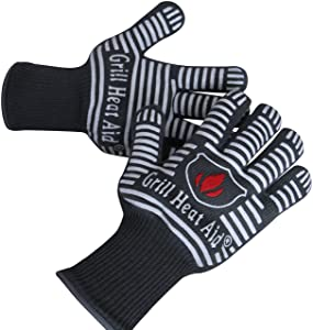 Extreme Heat Resistant Grill Gloves   Premium Insulated & Silicone Lined Aramid Fiber Mitts for Cooking, BBQ, Grilling, Frying & Baking - Professional Indoor Outdoor Kitchen & Oven Accessories
