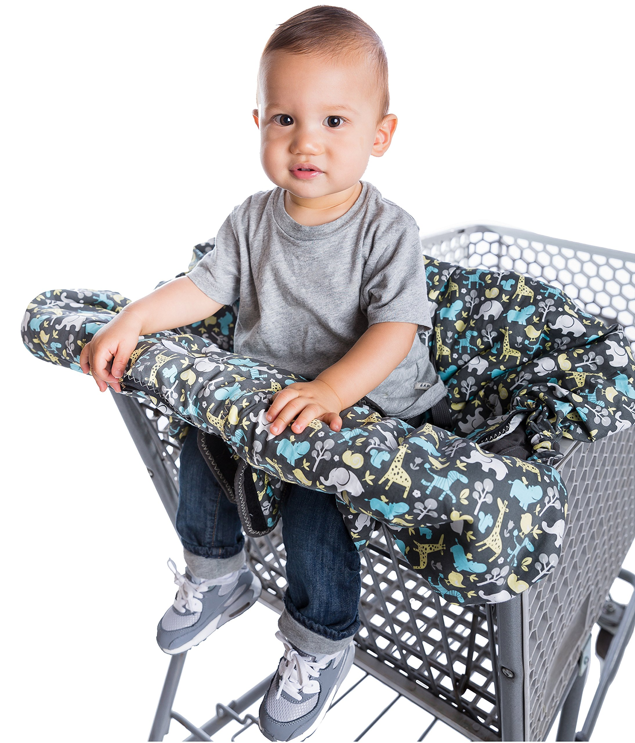 2-in-1 Shopping Cart Cover and High Chair Cover, Universal Fit, Ultra Plush, 100 Percent Cotton Upper, Full Safety Harness, Machine Washable for Baby, Toddler, Boy or Girl (Grey) by Heather and Heath Kids (Image #6)