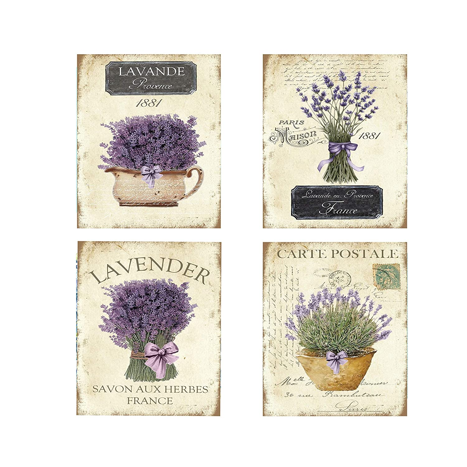 Set of 4 Vintage French Lavender Canvas Prints