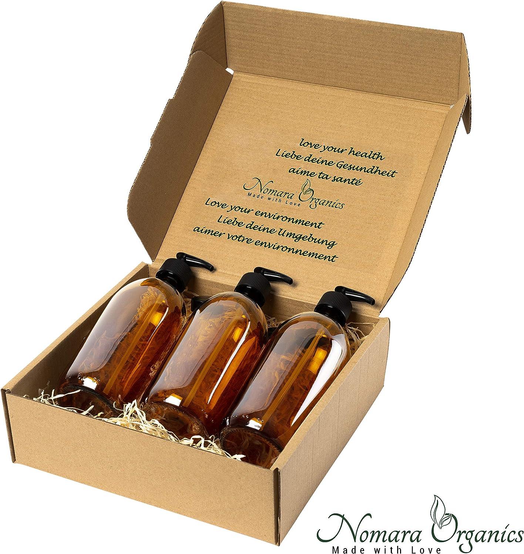 Nomara Organics® Juego de dispensadores de jabón, 3 x 300 ml de vidrio ámbar. En caja de paja, sin BPA, con bloqueo, tapas, reutilizable, organizador de baño, cosméticos