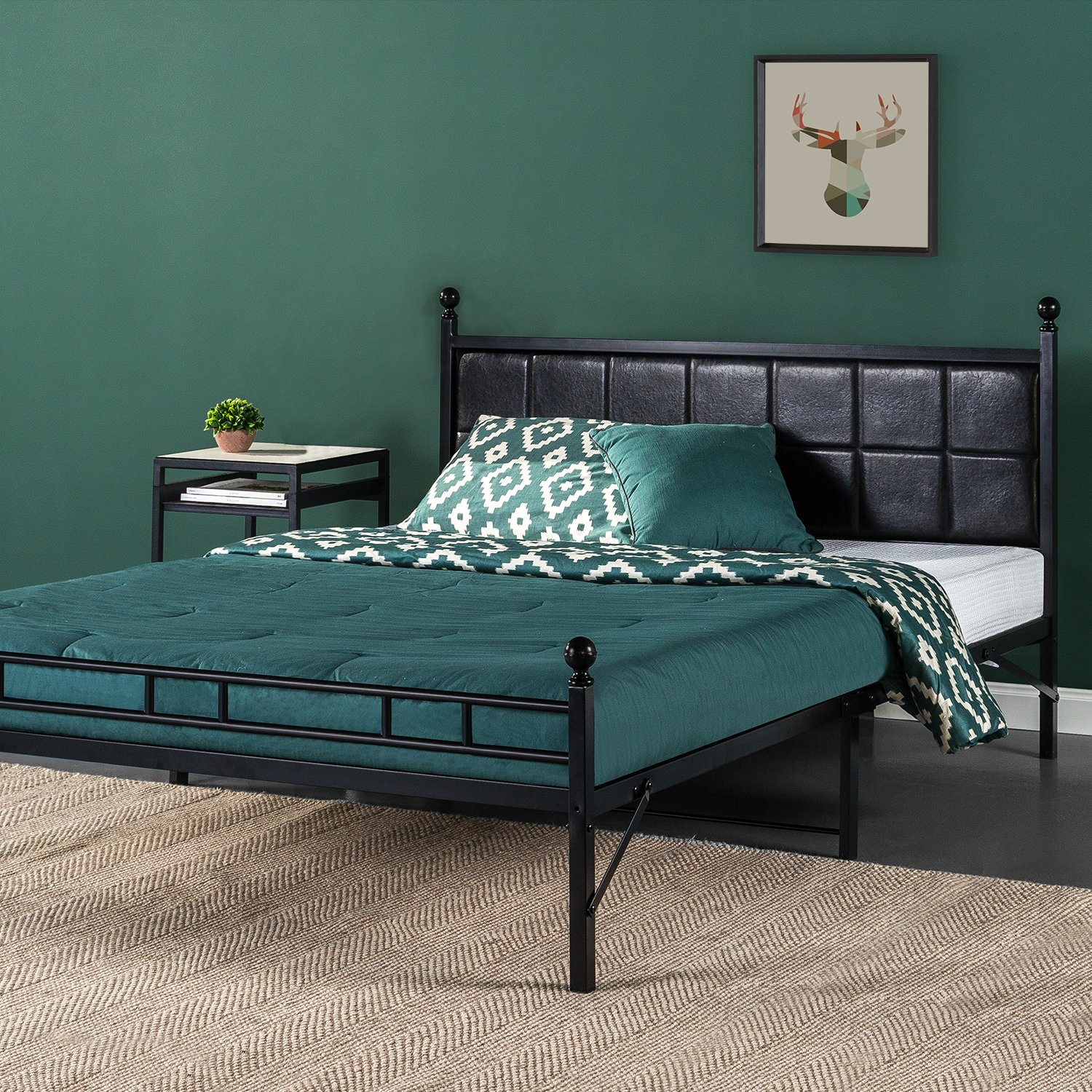 Zinus Sumit Metal Platform Bed Bed Frame with Faux Leather Square Stitched Upholstered Headboard, Twin XL