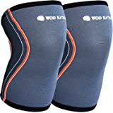 Knee Sleeve Compression Wrap by WOD Nation. 100% Latex Free 5mm Neoprene. Premium Support and Superior Comfort. Lifetime Gaurantee. Fits both Men and Women..