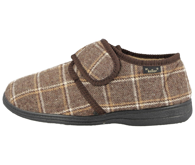6fd9c21510c Mens Dr Keller Luxury Tartan Check Warm Fur Fleece Lined Adjustable Strap Wider  Fit Memory Foam Slippers Size 6-12  Amazon.co.uk  Shoes   Bags