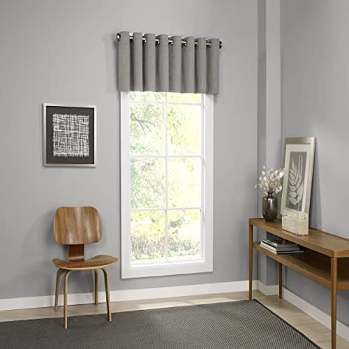 Eclipse Valances for Windows – Palisade 52 x 18 Short Curtain Valance Small Window Curtains Bathroom, Living Room and Kitchens, Grey