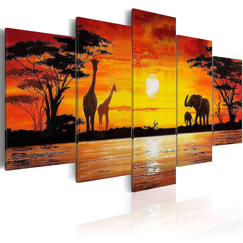 Murando - handbemalte Bilder auf Leinwand Afrika Afrika Afrika 100x50 cm - 5 Teilig - Leinwandbilder - Wandbilder XXL - Kunst - Wandbild - Savanne Sonnenuntergang Giraffe Elefanten 5730 8a0cd5