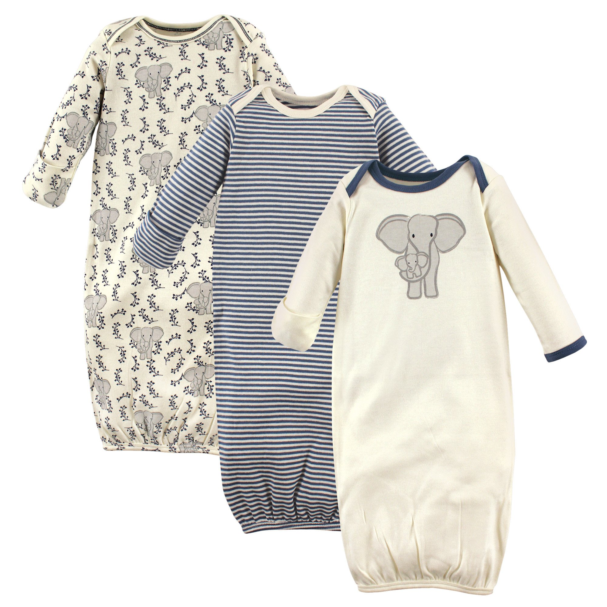 Touched by Nature Baby 3-Pack Organic Cotton Gown, Elephant, 0-6 Months