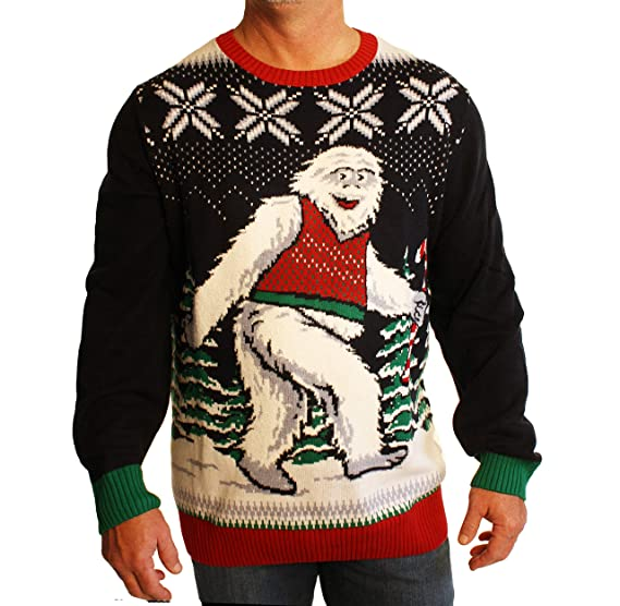 Ugly Christmas Sweater Mens Big And Tall Smiling Yeti Abominable
